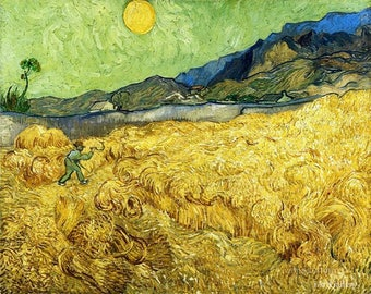 Wheatfield with a Reaper 1889 -Vincent Van Gogh Oil Painting Museum Quality Reproduction