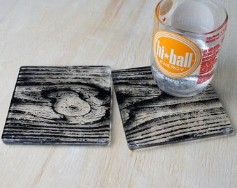 Woodgrain Fused Glass Coaster 2-pack, nature coaster, wood coaster,set of 2, bar coaster
