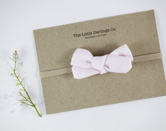 Hand Tied Hair Bow 100% Linen Small Schoolgirl in Baby Pink / Light Pink // Clip or Band