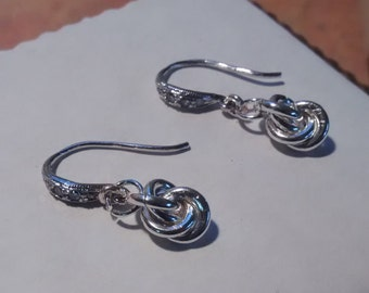 French Knot/Mobius Pendant Earrings - Sterling Silver