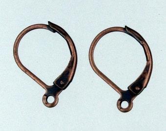 50 pcs of Antiqued Copper Leverback Earrings Lever back earwire 10X16mm