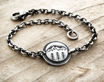 Mountain  and trees bracelet, sterling silver chain bracelet, mountain jewelry, camping, hiking, wander, girlfriend gift, Christmas gift