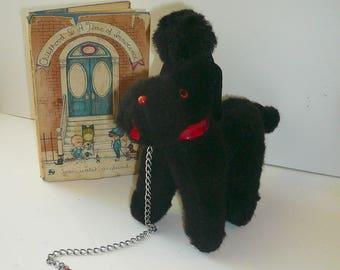Vintage Black French Poodle Dog Steiff Plush Stuffed Collectible Toy Red Collar Chain by VintageReinvented