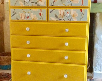Tall upcycled chest of drawers OOAK mustard with decoupage drawer fronts