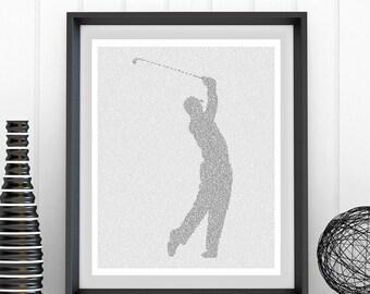 Golfer - Teeing Off - Text Art Print (AU)