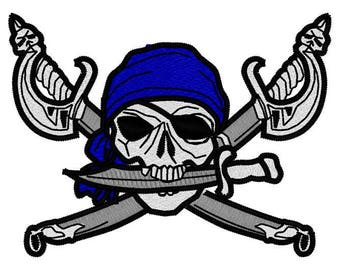 Pirate Skull Cross Swords Embroidery File