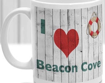 Beacon Cove mug, Gift to remember Devon, Ideal present,custom design.