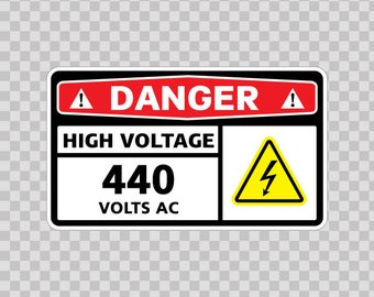 Sticker Decals Electrical safety sign Danger High Voltage 440 Volts Ac Sports 14343