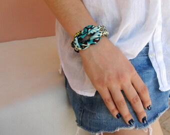 African wax fabric cuff bracelet turquoise,aqua teal.