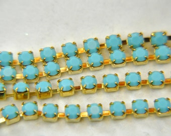 Rhinestone cup chain with Preciosa 4mm crystals turquoise sold by 5inch of continuous length