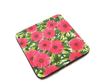 Vintage Formica Trivet with Pink and Green Flowers Pattern