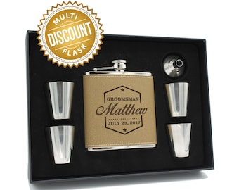 Groomsman Flask Set, Groomsmen Gift Box, , Gifts for Groomsmen, Personalized Leather Flask, Engraved Flask, Personalized Groomsmen Flask