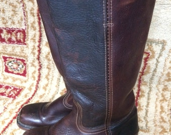 Frye #77050 Campus Saddle Stacked Riding Leather Women's Square Boots Sz 7 M