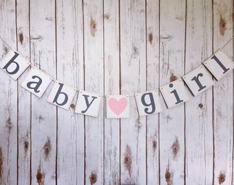 BABY GIRL BANNER, its a girl banner, it's a girl banner, baby girl sign, pink and grey baby shower, baby shower decor, baby girl gift