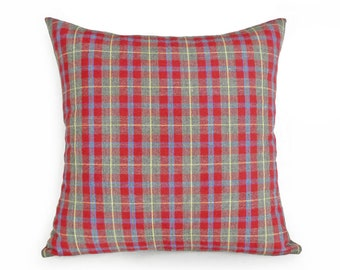 Red Cabin Pillows, Red Farmhouse Pillow, Red Grey Plaid Pillow, Red Cushion Cover, Red Gray Pillow, Zipper, Rustic Fall Decor, 18x18 SALE