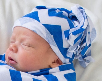 Royal Blue and white Chevron baby infant hat. beanie. cotton jersey knit stretch. Lightweight summer hat.