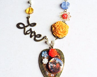 Love Photo Flower Necklace, Heart Pendant Mexican Photo Collage Flower Necklace