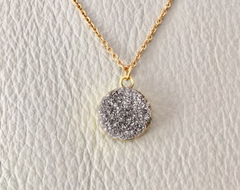 Druzy Round  Necklace, Druzy Necklace, Gemstone Necklace ,  druzy pendant,Gift for her, natural stone necklace