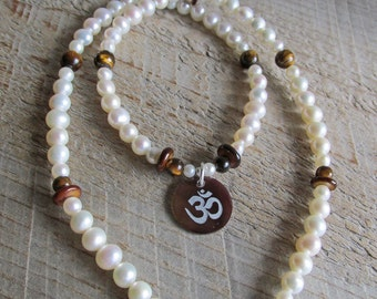 Freshwater Pearl Tiger's Eye Shell Om Aum Spiritual Healing Gemstone Necklace