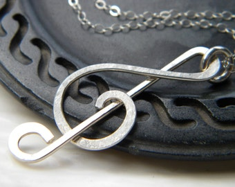 Forged treble clef music note necklace - Handmade sterling silver jewelry