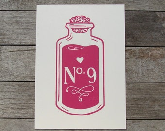 SALE Love Potion Number Nine Linocut Print 5x7'' in Hot Pink, open edition block print