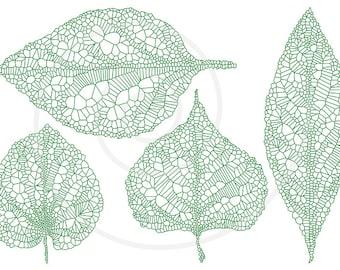 Green spring leaves, skeleton leaf silhouette, vein leaves, digital clipart, clip art set, drawing, illustration, EPS, SVG, instant download