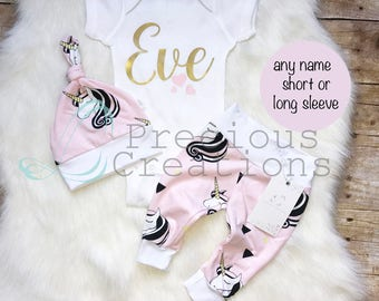 Baby Girl Coming Home Outfit Organic Baby Girl Clothes Personalized Baby Outfit Unicorn Pink Girl Outfit Newborn Baby Girl Outfit
