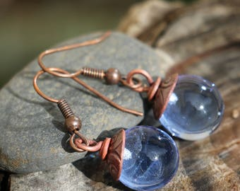 Earrings, boho, Bohemian, ethnic, chic, whimsical, Lampwork beads, lampwork, copper engraved, many possible colors, small