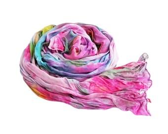 Silk scarves, pink silk scarf, lavender silk scarf, chiffon scarf, silk chiffon scarf, pastel silk scarf, pink, purple, blue, mom gifts