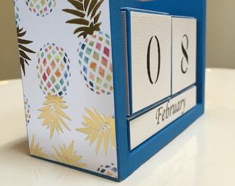 Perpetual Calendar - Pineapple Calendar - Desk Calendar - Multi-Color Block Calendar - Office Gift - Desk Supply - Pineapple Decor - Blue