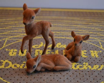 Lot of Three Furry Fawn Figurines