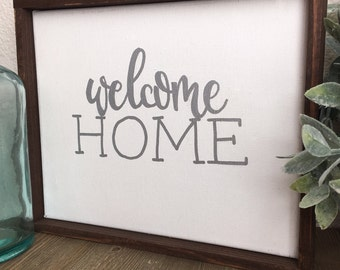 """Welcome Home 8.5x11"""" canvas+wood sign, hand painted sign, farmhouse style"""