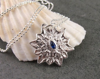 Sapphire snowflake necklace, handmade recycled fine silver pendant 2015-OOAK September birthstone