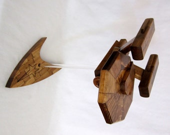 Flying Starship Enterprise Model with Starfleet Logo Base - Early American Stain - Upcycled Wood - Star Trek