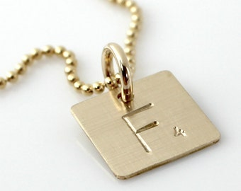 Scrabble Tile Inspired Necklace - Hand Stamped and Personalized Gold Filled Initial Tile Necklace - Words with Friends Inspired Necklace