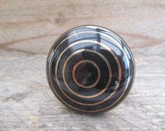 Black and Gold Striped Ceramic  Drawer Pull, Door Knob, Cabinet Hardware Art Deco Knob, Cabinet Hardware