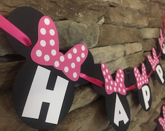 Minnie Mouse birthday banner, Minnie Mouse banner