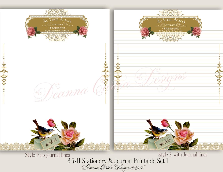 8.5 x 11 Briefpapier und Journalnotiz druckbare Set 3