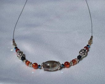Bohemian blue resin necklace natural Crystal beads and silver orange