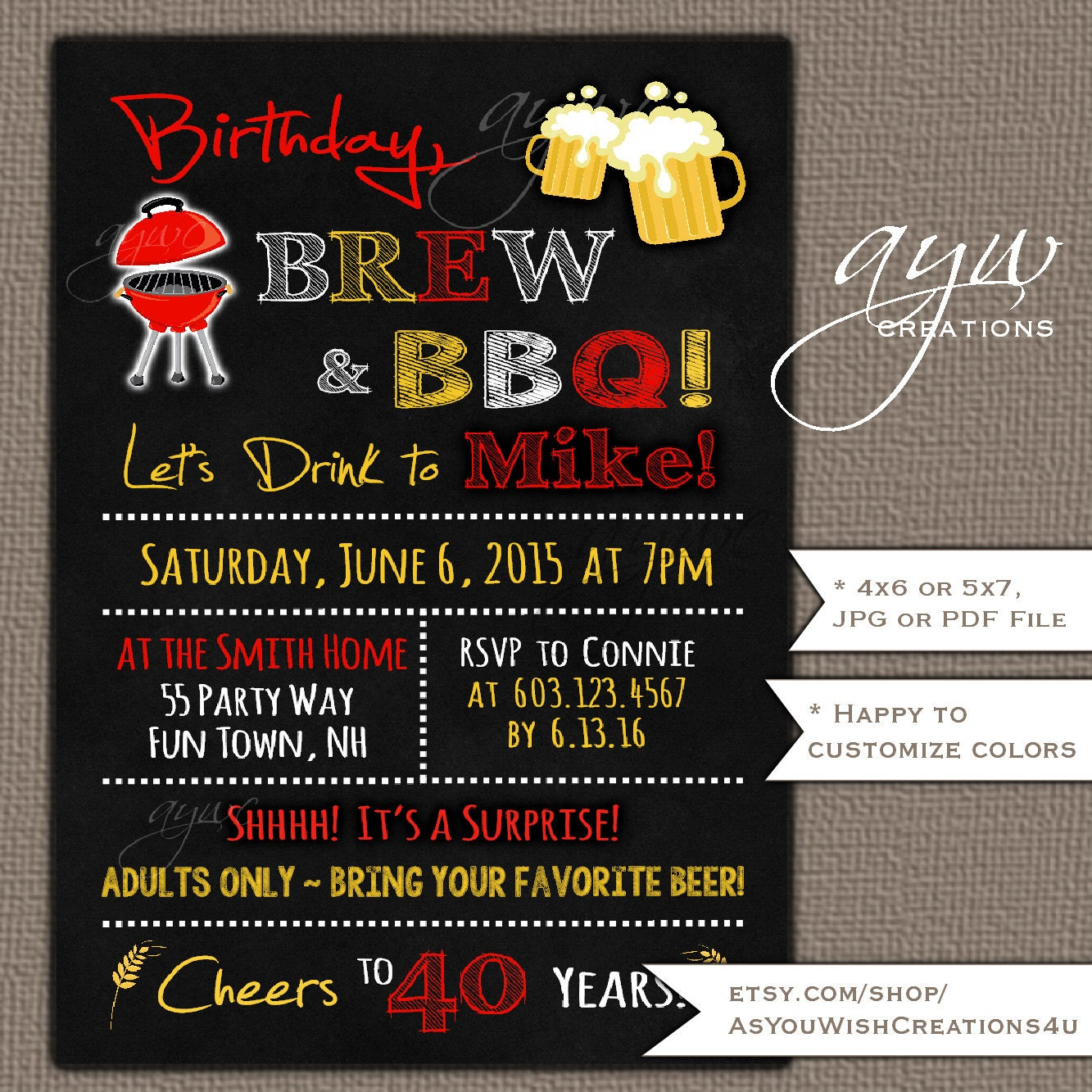 4th of July Beer and BBQ Birthday Party Invitations Printable