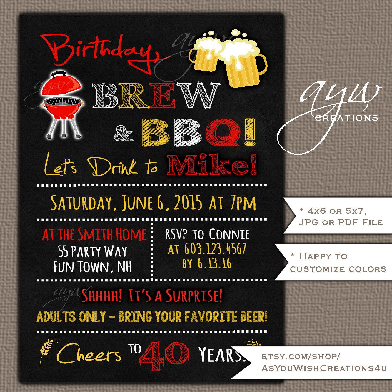 40th Birthday Invitation Brew And BBQ Invitation Printable