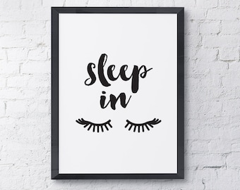 "Typography Poster ""Sleep In"" Fashion Eyelash Girl Inspirational Quote Happy Print Wall Art Home Decor"