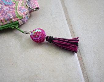 Sequin Tassel. Purse Zipper Pull. Fuchsia and Black. Zipper Charm. Purse Accessory. Statement Tassel. Jewelry Tassel. Gift For Her. Under 10