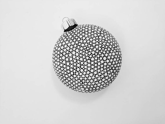 Black and White Hand Painted Glass Christmas Ornament dot Painting black and white minimalist ornament