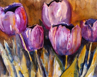 Tulips, Large Original Watercolor Painting, Wall Art, Purple and Gold, Floral