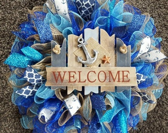 Welcome Wreath, Welcome, Nautical Wreath, Welcome Beach Wreath, Beach Wreath, Beach Decor, Beach Welcome, Beaches, Nautical, Nautical Decor
