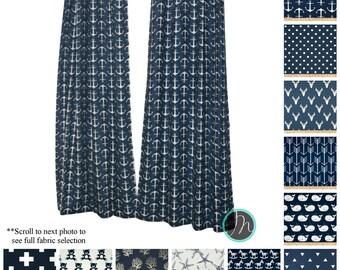 Nautical Curtains- Drapery Panels- PREMIER Navy Blue Curtains- Boys Drapes- Valance- Navy Beach House Decor- Cafe Curtains- Window Curtains