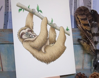 Sloths Illustration - A4 Print on 270gsm Card available in 3 Colours