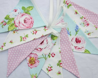 Pink and Aqua , fabric bunting, Pennant Banner, cottage  chic, Fabric Flag Banner, Wedding Bunting, Birthday Bunting, Baby Shower Banner