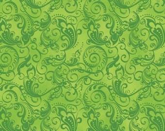 Rhapsody Green Scroll Fabric 1 Yard
